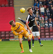 Dundee&rsquo;s Mark O&rsquo;Hara and Motherwell&rsquo;s Elliott Frear compete for the ball - Motherwell v Dundee, Fir Park, Motherwell, Photo: David Young<br /> <br />  - &copy; David Young - www.davidyoungphoto.co.uk - email: davidyoungphoto@gmail.com