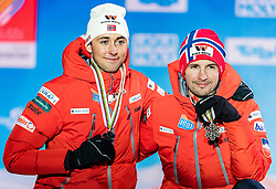 24.02.2019, Medal Plaza, Seefeld, AUT, FIS Weltmeisterschaften Ski Nordisch, Seefeld 2019, Nordischen Kombination, Teambewerb, Siegerehrung, im Bild Bronzemedaillengewinner Franz-Josef Rehrl, Bernhard Gruber (AUT) // Bronce medalist Franz-Josef Rehrl Bernhard Gruber of Austria during the winner ceremony for the team competition Nordic Combined of FIS Nordic Ski World Championships 2019 at the Medal Plaza in Seefeld, Austria on 2019/02/24. EXPA Pictures © 2019, PhotoCredit: EXPA/ Stefan Adelsberger