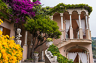 Detail of the architecture of an ornate palazzo on the Amalfi Coast of Italy