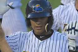May 19, 2017 - Trenton, New Jersey, U.S - GLEYBER TORRES (center), an infielder for the Trenton Thunder, is congratulated by teammates when returning to the dugout following his third-inning grand slam versus the Portland Sea Dogs at ARM & HAMMER Park. (Credit Image: © Staton Rabin via ZUMA Wire)