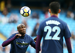Manchester City players warm up wearing a shirt in support of the injured Benjamin Mendy - Mandatory by-line: Matt McNulty/JMP - 14/10/2017 - FOOTBALL - Etihad Stadium - Manchester, England - Manchester City v Stoke City - Premier League