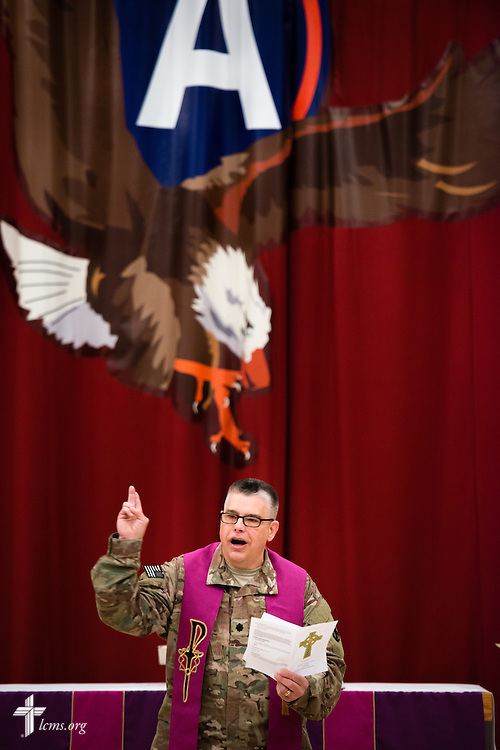 Army Lt. Col Steven Hokana, chaplain, leads worship at Camp Arifjan on Sunday morning, March 22, 2015, in Kuwait. LCMS Communications/Erik M. Lunsford