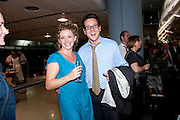 LOUISA CLEIN WITH HER  JEREMY BRIER, Press night for the Railway Children. Waterloo Station in the old Euroster terminal. 12 July 2010. -DO NOT ARCHIVE-© Copyright Photograph by Dafydd Jones. 248 Clapham Rd. London SW9 0PZ. Tel 0207 820 0771. www.dafjones.com.