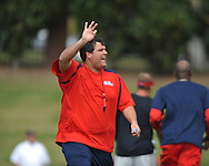 Offensive line coach Matt Luke at spring practice in Oxford, Miss. on Friday, March 23, 2012. (AP Photo/Oxford Eagle, Bruce Newman)