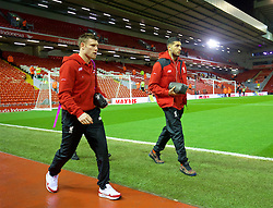 LIVERPOOL, ENGLAND - Wednesday, March 2, 2016: Liverpool's James Milner and Emre Can arrive before the Premier League match against Manchester City at Anfield. (Pic by David Rawcliffe/Propaganda)