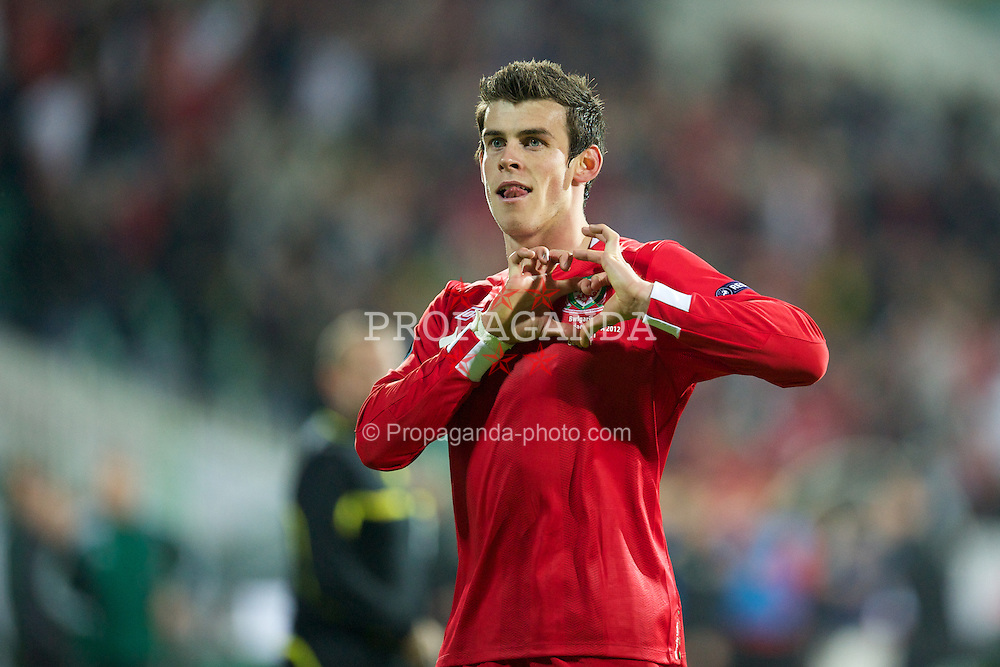 SOFIA, BULGARIA - Tuesday, October 11, 2011: Wales' Gareth Bale celebrates scoring the only goal of the game against Bulgaria during the UEFA Euro 2012 Qualifying Group G match at the Vasil Levski National Stadium. (Pic by David Rawcliffe/Propaganda)