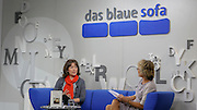 "Frankfurt Book Fair 2014, biggest of its kind in the World. Das blaue Sofa. Charlotte Link (l.) talks about her new book ""Sechs Jahre"" dealing with the death of her younger sister from cancer."