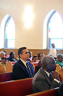 10/17/10 12:11:36 PM -- Darby, PA<br />  -- Democratic Congressional candidate Bryan Lentz campaigns October 17, 2010 at a First Baptist Church in Darby, Pennsylvania. Bryan Lentz  faces Republican Pat Meehan  in the Nov. 2 general election.   --  Photo by William Thomas Cain/Cain Images