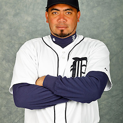 February 28, 2012; Lakeland, FL, USA; Detroit Tigers relief pitcher Joaquin Benoit (53) poses for photo day in the rec room at the Detroit Tigers Headquarters.  Mandatory Credit: Derick E. Hingle-US PRESSWIRE