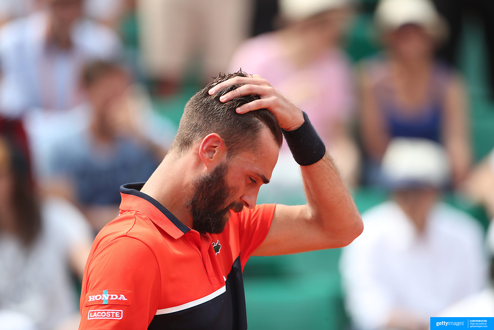 2017 French Open Tennis Tournament - Day Two.  Benoit Paire of France in action against Rafael Nadal of Spain on Court Suzanne-Lenglen during the Men's Singles Round one match at the 2017 French Open Tennis Tournament at Roland Garros on May 29th, 2017 in Paris, France.  (Photo by Tim Clayton/Corbis via Getty Images)
