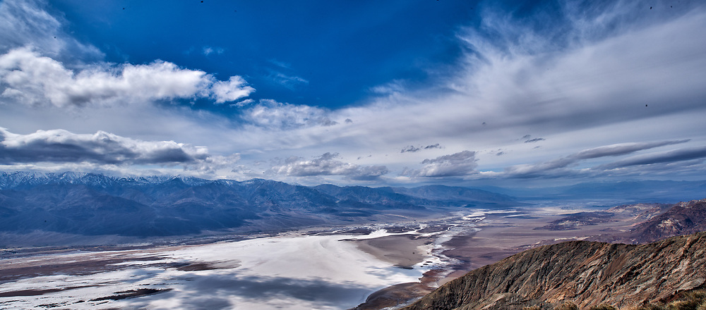 Salt Flats Panorama from Dante's View. Death Valley National Park. Composite of three images taken with a Nikon D3x camera and 24 mm f/3.5 PC-E camera (ISO 100, 24 mm, f/16, 1/200 sec).
