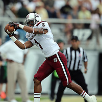 South Carolina Gamecocks wide receiver Damiere Byrd (1) catches the ball during an NCAA football game between the South Carolina Gamecocks and the Central Florida Knights at Bright House Networks Stadium on Saturday, September 28, 2013 in Orlando, Florida. (AP Photo/Alex Menendez)