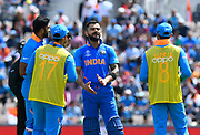 Virat Kohli (captain) of India during the drinks break during the ICC Cricket World Cup 2019 match between India and Afghanistan at the Ageas Bowl, Southampton, United Kingdom on 22 June 2019.