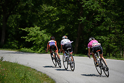 The front three descend (Stevens, Niewiadoma and Abbott) at Giro Rosa 2016 - Stage 6. A 118.6 km road race from Andora to Alassio, Italy on July 7th 2016.