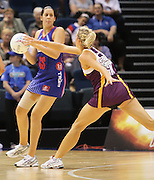 Paula Griffin in action while Laura Geitz defends during round 4 of the ANZ Netball Championship - Queensland Firebirds v Northern Mystics. Played at Brisbane Convention Centre. Firebirds (46) defeated the Mystics (40).  Photo: Warren Keir (SMP/Photosport).<br /> <br /> Use information: This image is intended for Editorial use only (e.g. news or commentary, print or electronic). Any commercial or promotional use requires additional clearance.