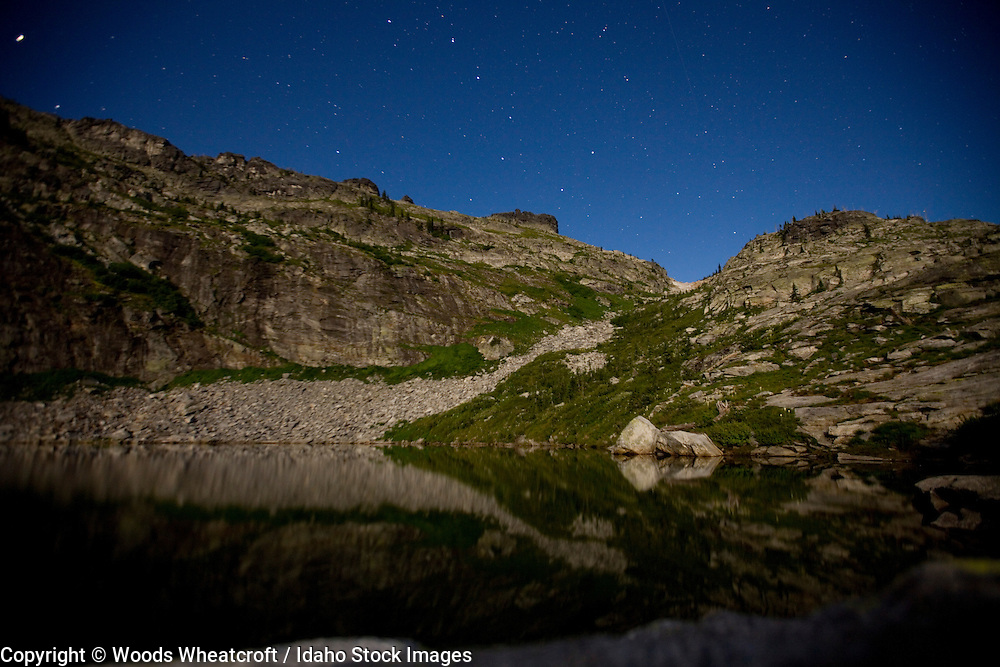 Night time image of Fault Lake and the Selkirk crest. Northern Idaho.