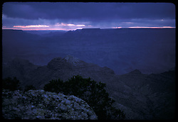 Blue Dusk at Grand Canyon, South Rim. 7:45 MST, Nikon Ftn Camera, 35mm f/2 lens, 1 sec. f/2.8, Kodachrome II