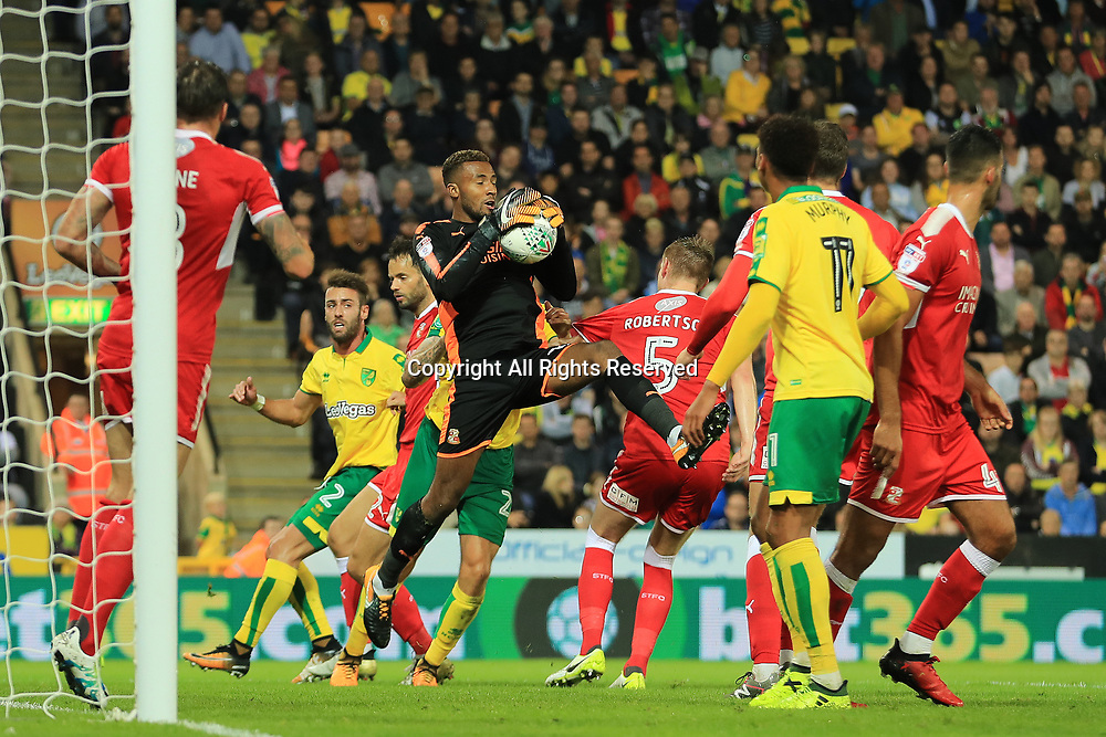 August 8th 2017, Carrow Road, Norwich, England; Carabao Cup First Round; Norwich City versus Swindon Town; Lawrence Vigouroux of Swindon Town collects a corner
