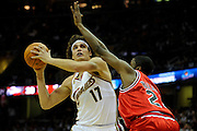 Apr 27, 2010; Cleveland, OH, USA; Cleveland Cavaliers forward Anderson Varejao (17) drives to the basket against Chicago Bulls forward Hakim Warrick (21) during the second period in game five in the first round of the 2010 NBA playoffs at Quicken Loans Arena.  Mandatory Credit: Jason Miller-US PRESSWIRE