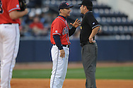 Mississippi head coach Mike Bianco talks to an umpire at Oxford-University Stadium on Friday, March 26, 2010 in Oxford, Miss. Ole Miss won 3-2.