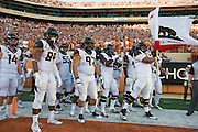 AUSTIN, TX - SEPTEMBER 19:  The California Golden Bears take the field before kickoff against the Texas Longhorns on September 19, 2015 at Darrell K Royal-Texas Memorial Stadium in Austin, Texas.  (Photo by Cooper Neill/Getty Images) *** Local Caption ***