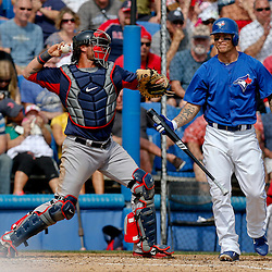 Feb 25, 2013; Dunedin, FL, USA; Toronto Blue Jays third baseman Brett Lawrie (13) reacts after striking out against the Boston Red Sox during the bottom of the fourth inning of a spring training split squad game at Florida Exchange Park. Mandatory Credit: Derick E. Hingle-USA TODAY Sports