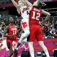 07 August 2012: USA Lindsey Whalen goes for the layup against Canada Lizanne Murphy during 91-48 Team USA victory over Team Canada, during the women's basketball quarter-finals, at the Basketball Arena, in London, Great Britain.