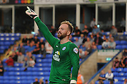 Ben Alnwick giving his commands during the Capital One Cup match between Peterborough United and Crawley Town at London Road, Peterborough, England on 11 August 2015. Photo by Michael Hulf.