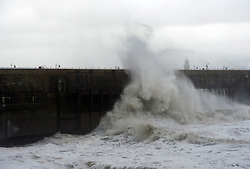 © Licensed to London News Pictures. 20/11/2016<br /> High winds at Folkestone Harbour arm,Folkestone,Kent.<br /> Folkestone Harbour arm is closed due to high winds and a scaffold staircase collapse.<br /> Photo credit :Grant Falvey/LNP