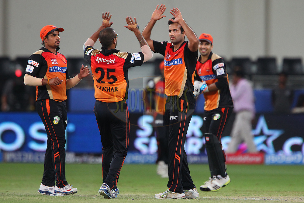 Irfan Pathan of the Sunrisers Hyderabad celebrates the win with team mates during match 20 of the Pepsi Indian Premier League Season 2014 between the Mumbai Indians and the Sunrisers Hyderabad held at the Dubai International Stadium, Dubai, United Arab Emirates on the 30th April 2014<br /> <br /> Photo by Ron Gaunt / IPL / SPORTZPICS