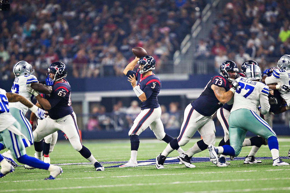 ARLINGTON, TX - SEPTEMBER 3:  Tom Savage #3 of the Houston Texans throws a pass during a preseason game against the Dallas Cowboys at AT&T Stadium on September 3, 2015 in Arlington, Texas.  (Photo by Wesley Hitt/Getty Images) *** Local Caption *** Tom Savage