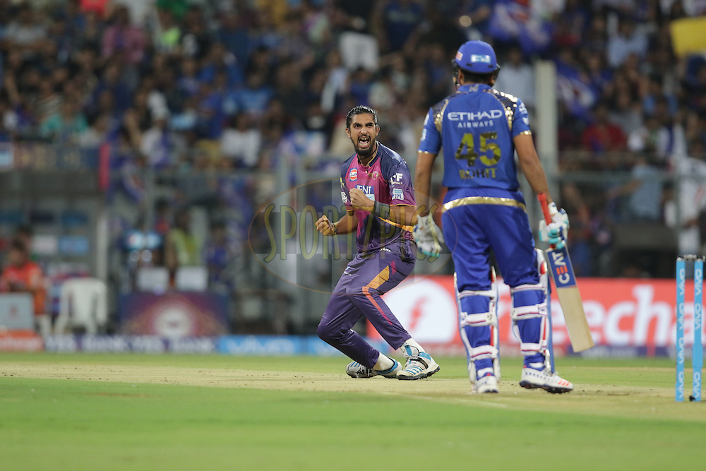 Ishant Sharma of Pune Supergiants celebrates after taking Rohit Sharma captain of MI wicket during match 1 of the Vivo Indian Premier League ( IPL ) 2016 between the Mumbai Indians and the Rising Pune Supergiants held at the Wankhede Stadium in Mumbai on the 9th April 2016<br /> <br /> Photo by Rahul Gulati/ IPL/ SPORTZPICS