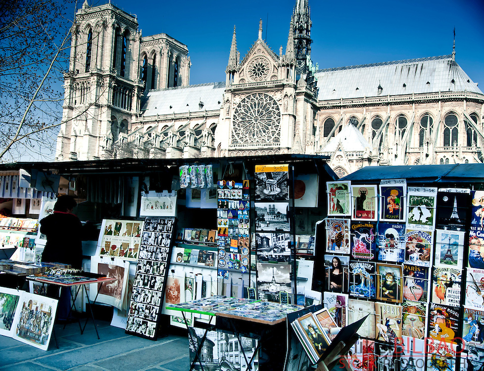 Notre Dame Cathedral and gift shop.<br /> Paris, France, Europe.