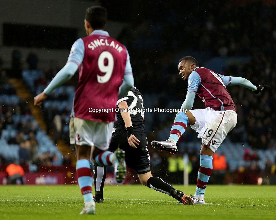 28th November 2015 - Barclays Premier League - Aston Villa v Watford -  Jordan Ayew of Aston Villa scores a consolation goal (2-3) - Photo: Paul Roberts / Offside.