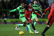 Forest Green Rovers Reece Brown(10) and Grimsby Towns Mitch Rose(8) during the EFL Sky Bet League 2 match between Forest Green Rovers and Grimsby Town FC at the New Lawn, Forest Green, United Kingdom on 22 January 2019.