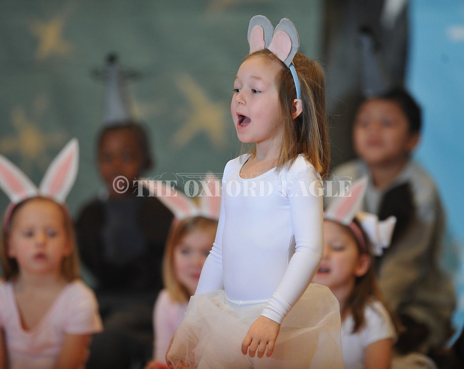 "Bramlett Elementary kindergarten students perform the play ""The Mitten"" in Oxford, Miss., on Friday, January 21, 2011."