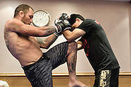BIRMINGHAM, ENGLAND, NOVEMBER 2, 2011: Chris Leben (left) works on his striking at the media open work-out sessions inside the Hilton Hotel on November 2, 2011.