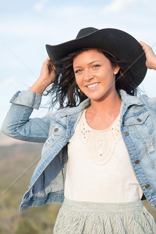 beautiful girl in a cowboy hat