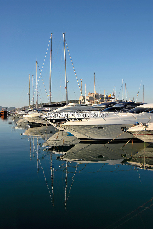 Yachts with castle in view, Marina Botafoch, Ibiza