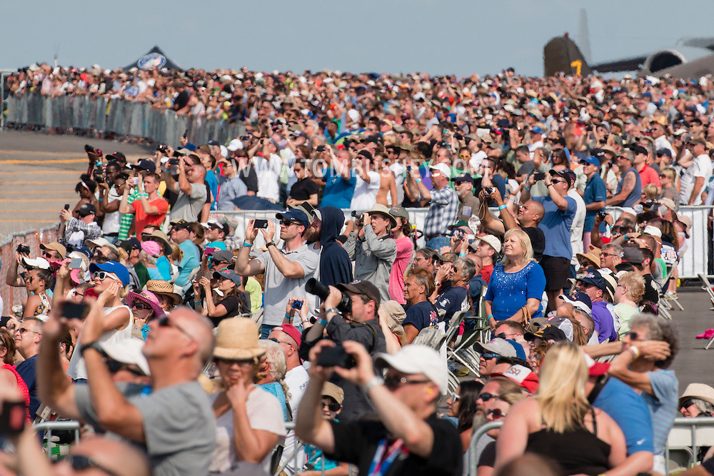 New Windsor, New York - People watch aircraft perform at the New York Air Show at Stewart International Airport  on Aug. 29, 2015. ©Tom Bushey / The Image Works