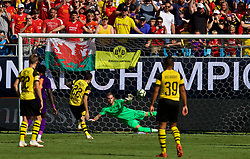 CHARLOTTE, USA - Sunday, July 22, 2018: Liverpool's goalkeeper Loris Karius is beaten by  a penalty by Borussia Dortmund's Christian Pulisic during a preseason International Champions Cup match between Borussia Dortmund and Liverpool FC at the  Bank of America Stadium. Borussia Dortmund won 3-1. (Pic by David Rawcliffe/Propaganda)