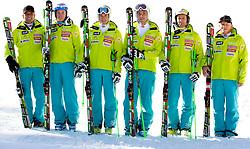 Men Slalom Team: Vlado Makuc, Matic Skube, Janez Jazbec, Miha Kuerner, Mitja Valencic and Marko Jurjec during media day of Slovenian Alpine Ski team on October 17, 2011, in Rudno polje, Pokljuka, Slovenia. (Photo by Vid Ponikvar / Sportida)