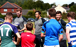 Will Butler, Dean Hammond and Max Stelling of Worcester Warriors leads a coaching session as Worcester Warriors host a summer holiday rugby camp at Malvern College - Mandatory by-line: Robbie Stephenson/JMP - 16/08/2017 - RUGBY - Malvern College - Worcester, England - Worcester Warriors - Malvern Rugby Camp