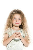 caucasian little girl portrait with milk mustache isolated studio on white background