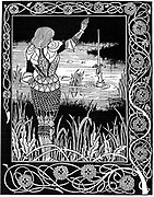Hand in the lake reclaims Excalibur, King Arthur's sword. 1893 illustration by Aubrey Beardsley for Thomas Mallory 'Le Morte D'arthur'. Woodcut.