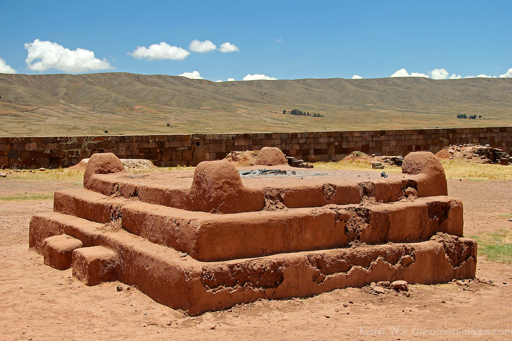 South America, Bolivia, Tiwanaku. Excavated ruin of Pre-Columbian archaeological site of Tiwanaku, a UNESCO World Heritage Site.