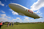 UK ENGLAND LONDON 22JUL08 - The 'Star over London' zeppelin takes off from Damyen Hall airfield near Upminster in east London.<br />
