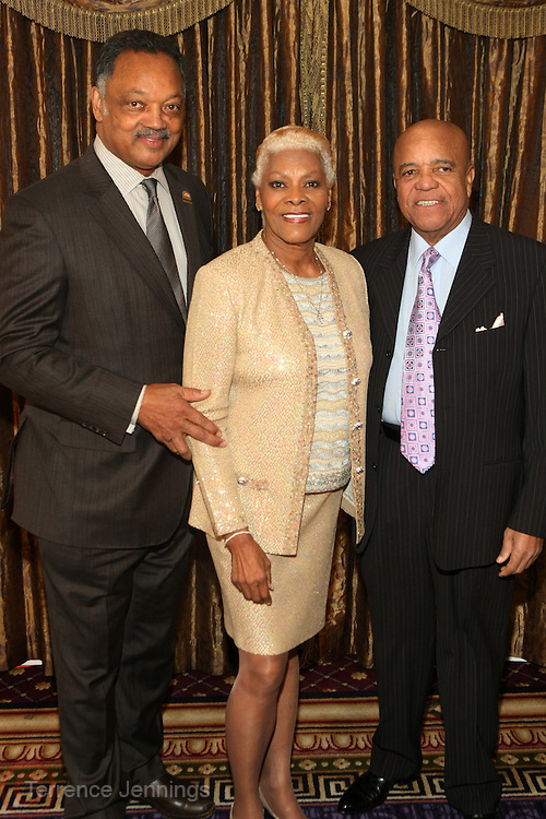 New York, NY-January 31: (L-R) Rev. Jesses L. Jackson, Founder, Rainbow PUSH, Recording Artist Dionne Warick and Music Executive Berry Gordy(Honoree) attends the16th Annual Wall Street Project Gala Fundraiser Reception with special Tribute to Berry Gordy, Jr and Motown Recordings held at the Roosevelt Hotel on January 31, 2013. The Rainbow PUSH Coalition is a progressive organization protecting, defending and expanding civil rights to improve economics and educational opportunity. (Terrence Jennings))