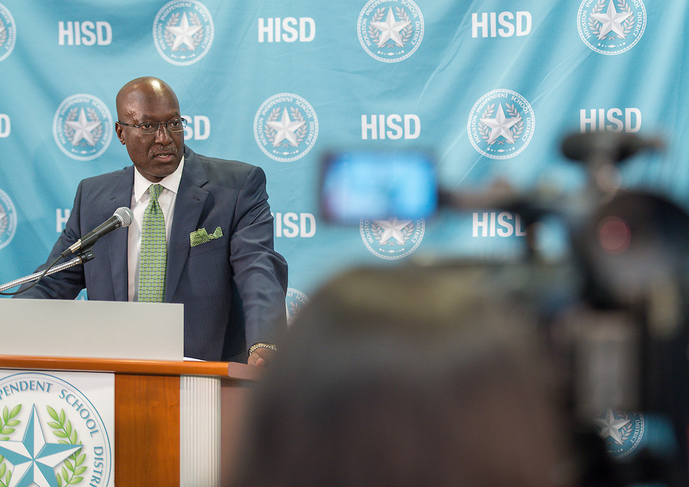 Houston ISD Deputy Superintendent Ken Hewitt comments during a a news briefing on a bus accident that resulted in the deaths of two students, September 15, 2015.