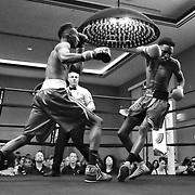 DAYTONA BEACH, FL - FEBRUARY 08:  Emonte Haynes knocks out Roderick Gilkey during their boxing match at Hard Rock Hotel Daytona on February 8, 2020 in Daytona Beach, Florida. (Photo by Alex Menendez/Getty Images) *** Local Caption *** Emonte Haynes; Roderick Gilkey